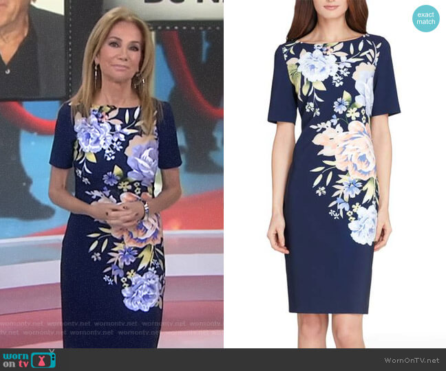 Floral Scuba Sheath Dress by Tahari ASL worn by Kathie Lee Gifford  on Today