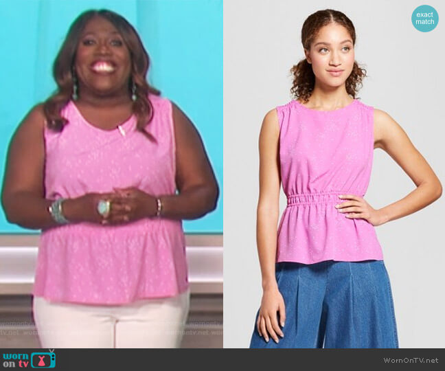 Printed Cinched Waist Blouse by A New Day at Target worn by Sheryl Underwood  on The Talk