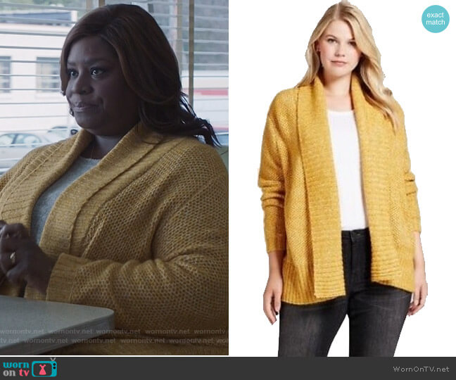 Yellow plus size cardigan by Target worn by Ruby Hill (Retta) on Good Girls