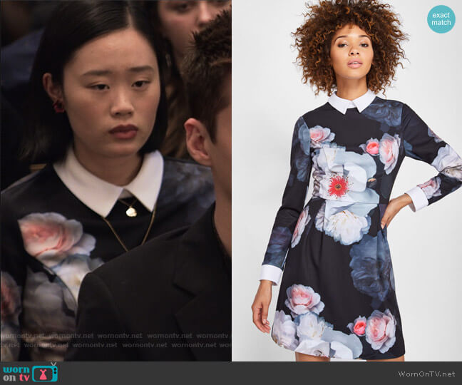 Kaleesa Chelsea Flower Collar Dress by Ted Baker worn by Courtney Crimsen (Michele Selene Ang) on 13 Reasons Why