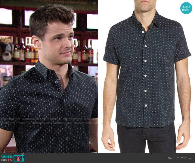 Ted Baker Franko Print Sport Shirt worn by Kyle Abbott (Michael Mealor) on The Young & the Restless