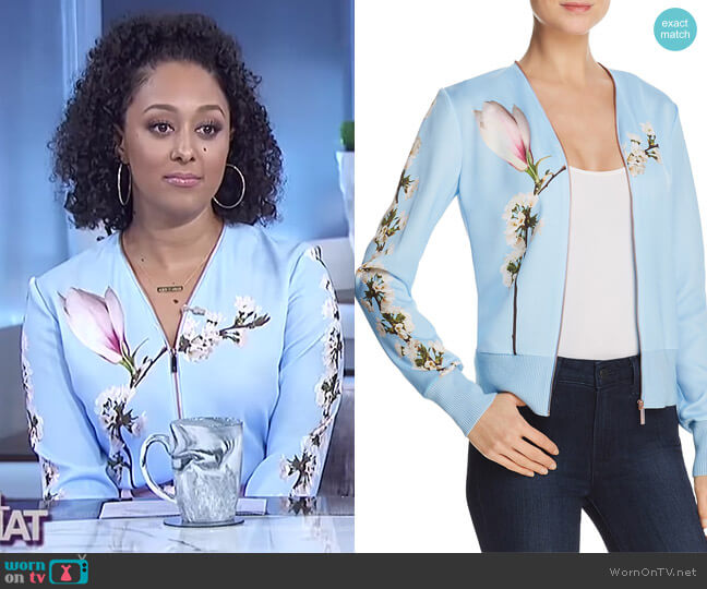 Jayniee Harmony Bomber Jacket by Ted Baker worn by Tamera Mowry  on The Real