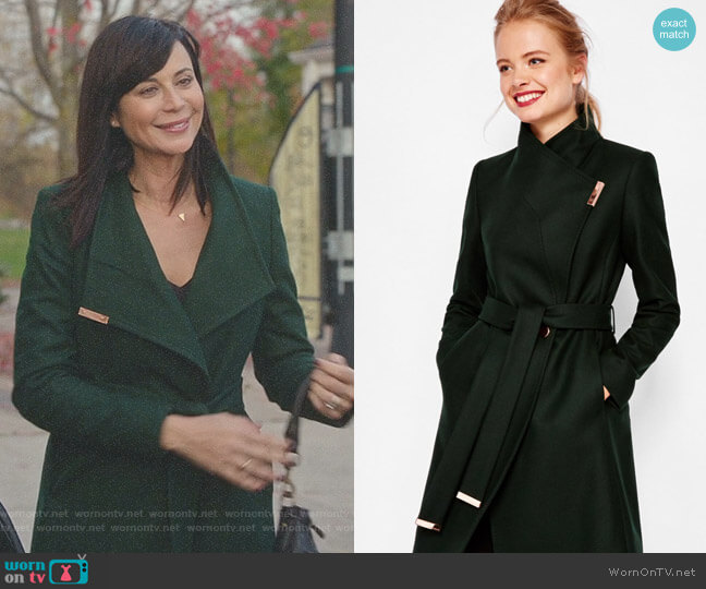 Kikiie Cashmere-blend Wrap Front Coat by Ted Baker worn by Catherine Bell on Good Witch