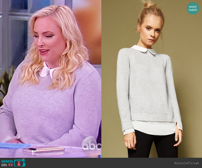 Scallop collar wool and silk-blend jumper by Ted Baker worn by Meghan McCain  on The View