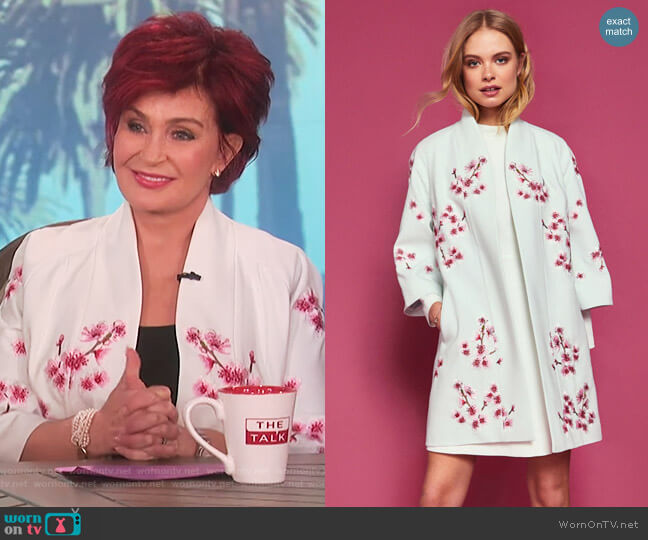 Ted Baker Soft Blossom Embroidered Kimono Coat worn by Sharon Osbourne  on The Talk