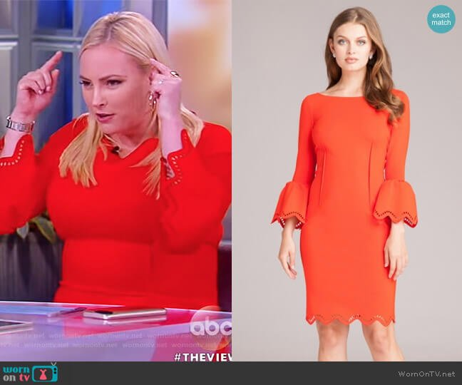 Bell Sleeve Dress with Lazer-cut Accents by Teri Jon worn by Meghan McCain on The View