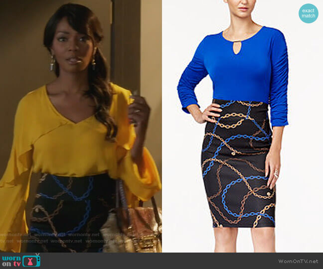 Ruched Top & Pencil Skirt by Thalia Sodi worn by Vanessa Williams on Famous in Love