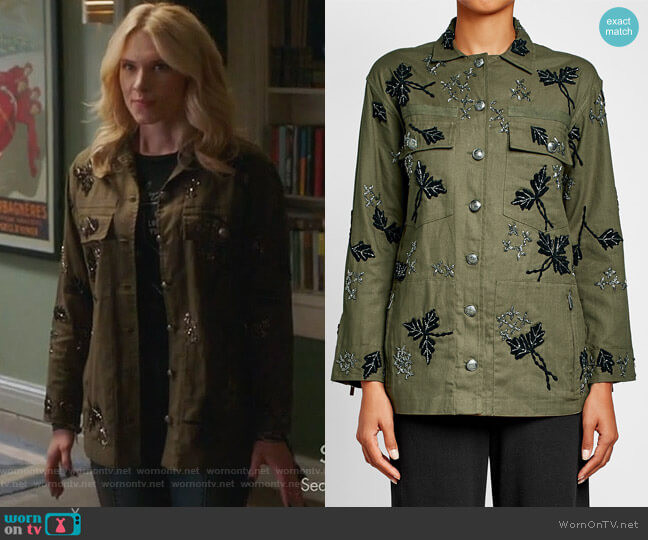Embellished Cotton Jacket by The Kooples worn by Claudia Lee on Famous in Love