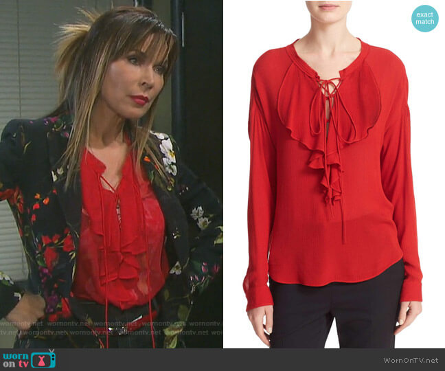 Lace-Up Silk Ruffle Blouse by The Kooples worn by Lauren Koslow on Days of our Lives