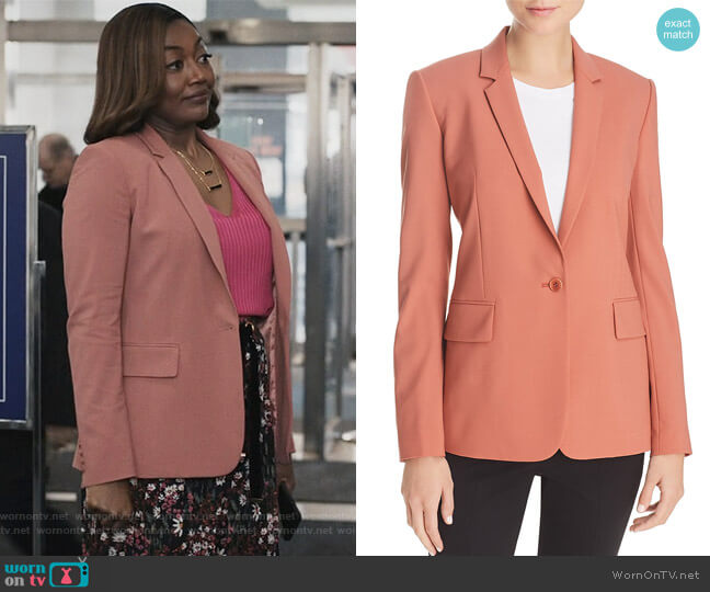 Essential Stretch-Wool Blazer by Theory worn by Patina Miller on Madam Secretary