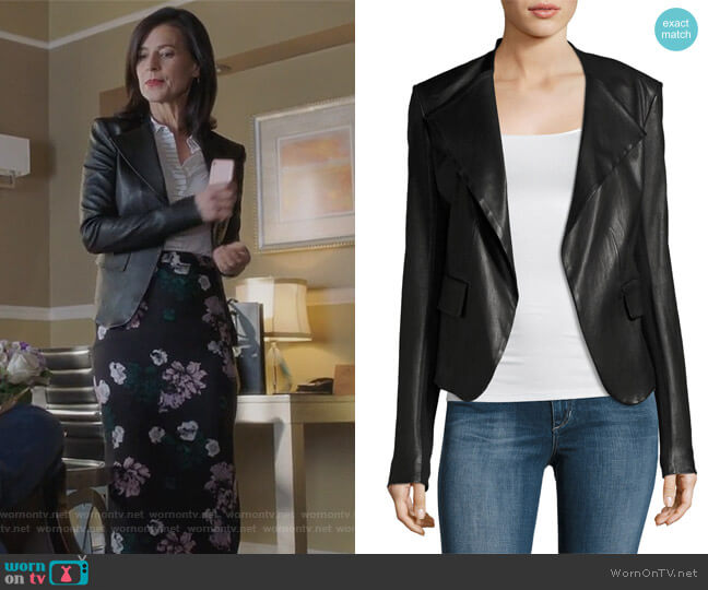 Peplum Jacket Leather Jacket by Theory worn by Nina Devon (Perrey Reeves) on Famous in Love