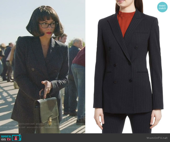 Pinstripe Power Blazer by Theory worn by Inbar Lavi on Imposters