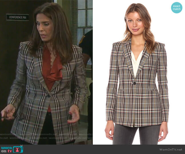 Power Plaid Blazer by Theory worn by Kristian Alfonso on Days of our Lives