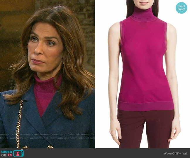 Theory Turtleneck Bias Silk Top worn by Hope Williams (Kristian Alfonso) on Days of our Lives
