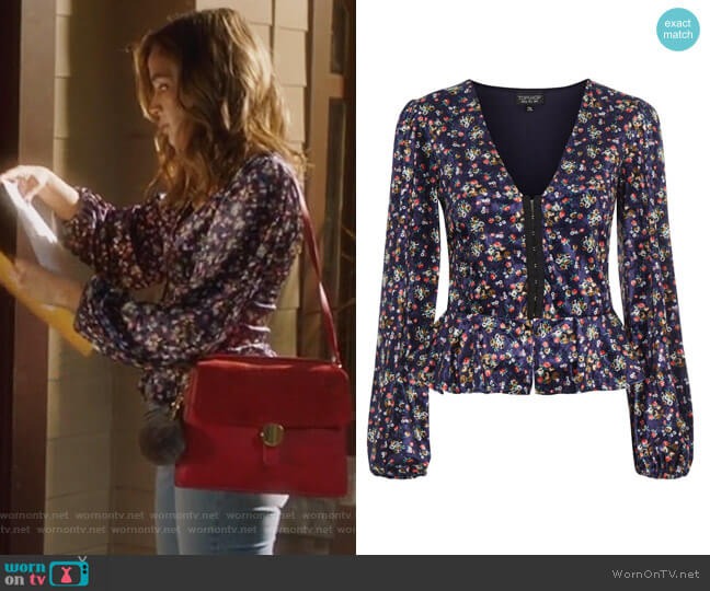Floral Print Velvet Hook and Eye Top by Topshop worn by Cassandra (Georgie Flores) on Famous in Love