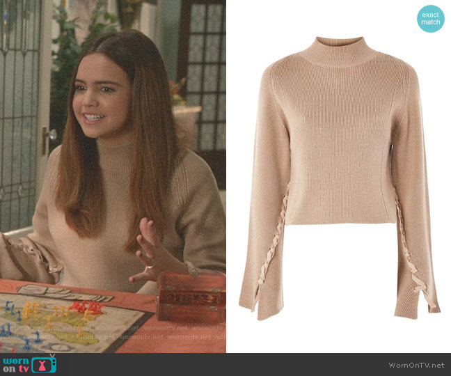 Lace Sleeve Funnel Neck Sweater by Topshop worn by Bailee Madison on Good Witch