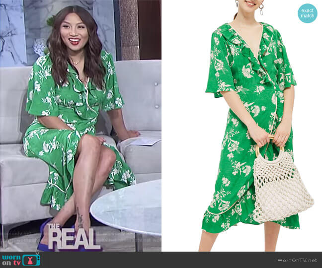Leaf Print Ruffle Wrap Dress by Topshop worn by Jeannie Mai  on The Real