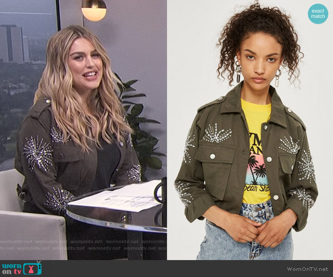 Rhinestone Embellished Shacket by Topshop worn by Carissa Loethen Culiner (Carissa Loethen Culiner) on E! News