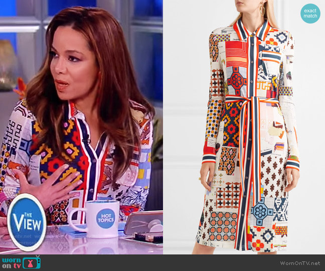 Laurence printed jersey midi dress by Tory Burch worn by Sunny Hostin  on The View