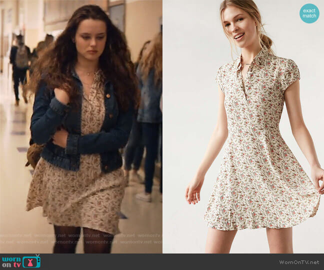 Rosebud Fit Flare Shirt Dress by Kimchi Blue at Urban Outfitters worn by Hannah Baker (	Katherine Langford) on 13 Reasons Why
