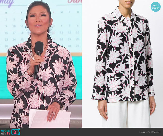 Floral Pyjama Style Top by Valentino worn by Julie Chen on The Talk