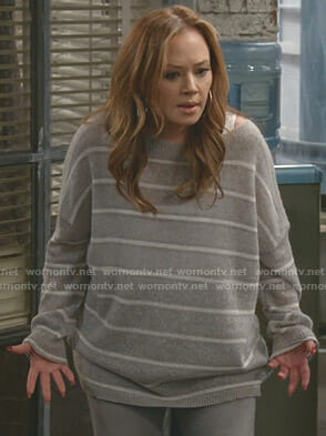 Vanessa's grey striped sweater on Kevin Can Wait