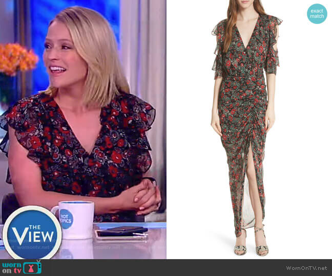 Cecile ruffled floral-print silk-chiffon maxi dress by Veronica Beard worn by Sara Haines (Sara Haines) on The View