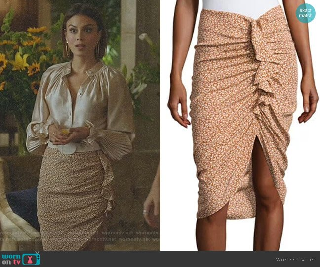 Hazel Side-Ruched Silk Ruffle Skirt by Veronica Beard worn by Nathalie Kelley on Dynasty