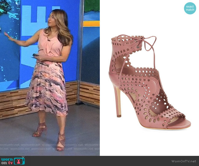 'Elysia' Perforated Sandal by Via Spiga  worn by Ginger Zee on Good Morning America