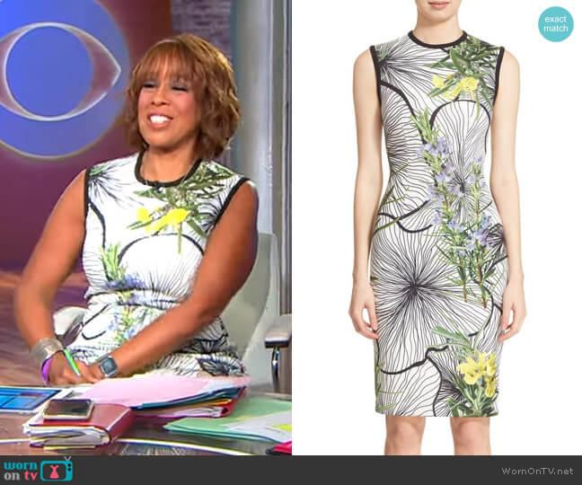 Clockwork Floral Print Scuba Dress by Yigal Azrouel worn by Gayle King  on CBS This Morning