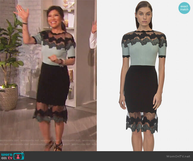 Shell Lace Knit Dress by Yigal Azrouel worn by Julie Chen on The Talk