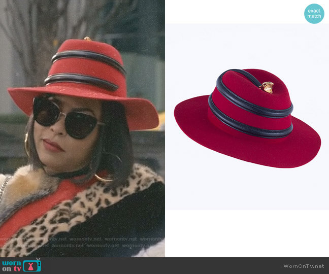 24k Boa Red/Black Hat by Youssef Lahlou worn by Taraji P. Henson on Empire