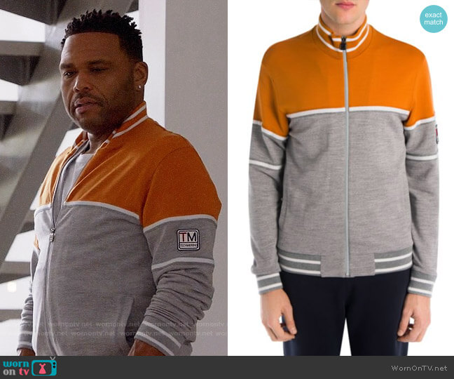 Z Zegna Techmerino Wool Colorblock Zip Jacket worn by Anthony Anderson on Blackish
