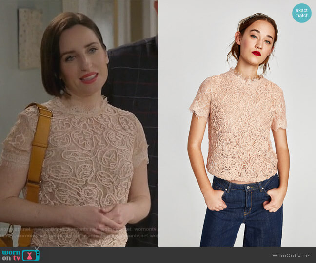 Embroidered Lace Top by Zara worn by Jennifer Short (Zoe Lister-Jones) on Life in Pieces