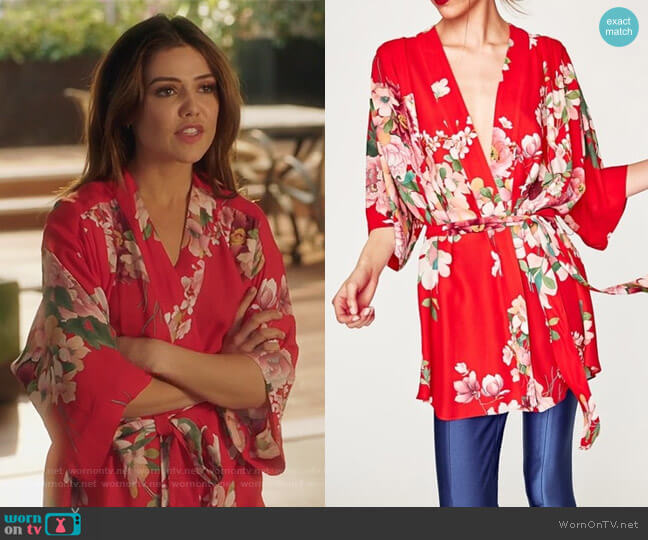 Printed Kimono Blouse by Zara worn by Danielle Campbell on Famous in Love