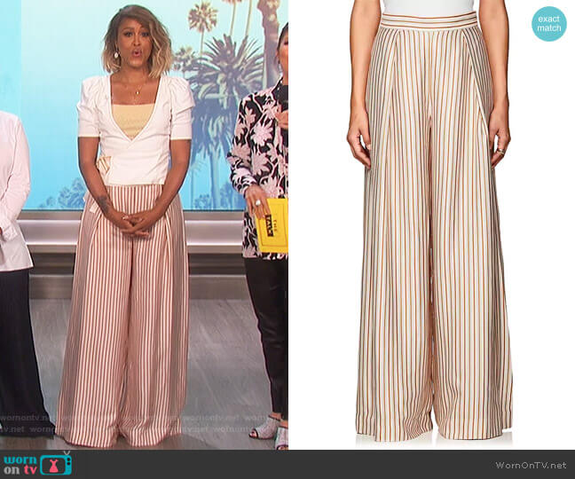 Striped Wide-Leg Pants by Zimmermann worn by Eve on The Talk