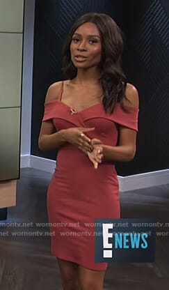 Zuri's red off shoulder body-con dress on E! News