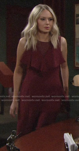 Abby's burgundy jumpsuit on The Young and the Restless