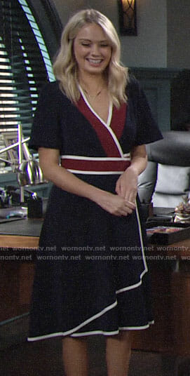 Abby's navy wrap dress with white trim on The Young and the Restless