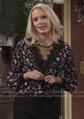 Abby's pink floral top with lace on The Young and the Restless