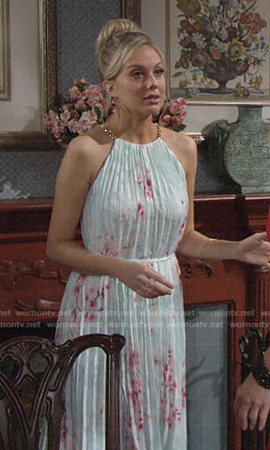 Abby's icy blue midi dress on The Young and the Restless