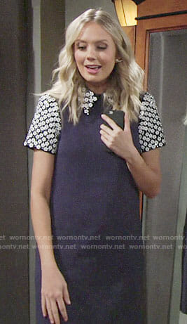 Abby's blue dress with floral embellished sleeves and collar on The Young and the Restless