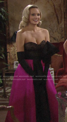 Abby's pink and black strapless dress on The Young and the Restless