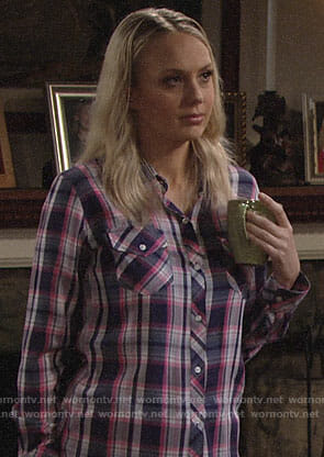 Abby's pink plaid shirt on The Young and the Restless