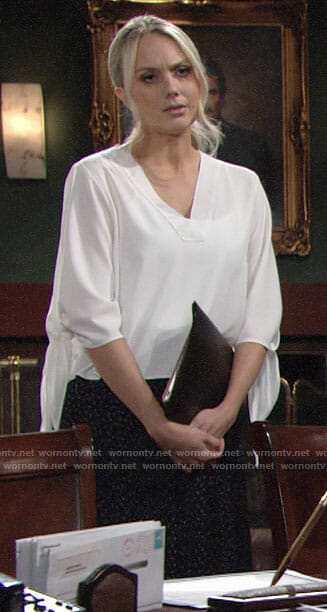 Abby's white tie sleeve blouse on The Young and the Restless