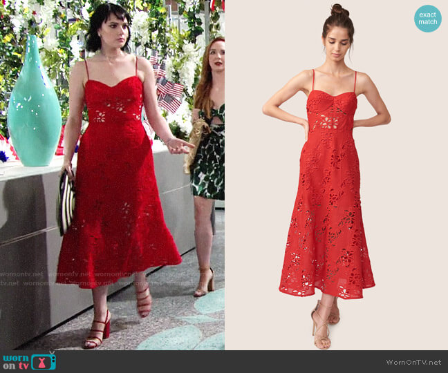 ABS Allen Schwartz Eden Embroidered Dress worn by Tessa Porter (Cait Fairbanks) on The Young & the Restless