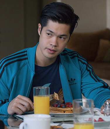 Zach's green Adidas track jacket on 13 Reasons Why