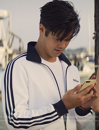 Zach's white Adidas track jacket on 13 Reasons Why