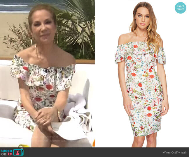 Bloom Printed Off Shoulder Dress by Adrianna Papell worn by Kathie Lee Gifford  on Today