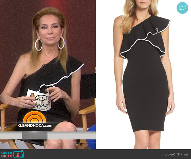 Crepe One-Shoulder Sheath Dress by Adrianna Papell worn by Kathie Lee Gifford on Today